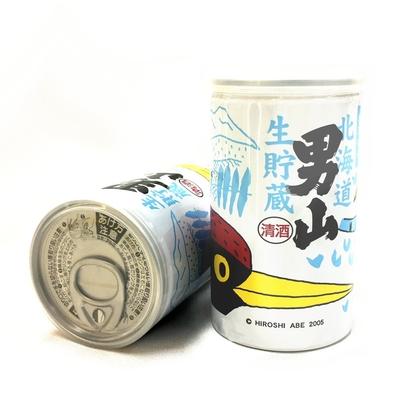 北海道 男山 特別純米酒 生貯蔵 180ml缶カップ酒(クマゲラプリント缶)