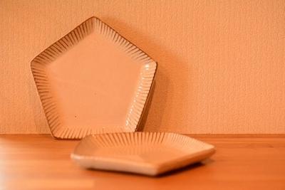 耕窯 「粉引五角皿」
