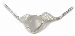 ハートムーンストーンに天使の羽ネックレス(小)【送料無料】