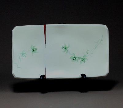 赤水窯 無名異皿(長方形・大)箱付き