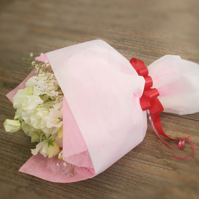 【花束】約20本「ホワイトデーミニ花束 カスミ」