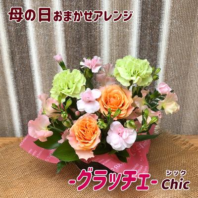 【アレンジメント】「母の日(グラッチェ)」カーネーション・バラ・ヒペリカム・スイートピーなど