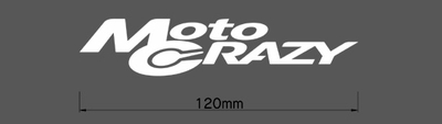 MotoCRAZY切り抜きステッカー120・ホワイト・1枚(横幅120mm)※ネコポス(レターパック)対応(ポスト投函)