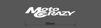 MotoCRAZY切り抜きステッカー95・ホワイト・1枚(横幅95mm)※ネコポス(レターパック)対応(ポスト投函)