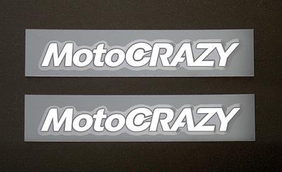 MotoCRAZY転写ステッカー 70mm (ホワイト2枚組)