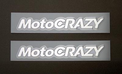 MotoCRAZY転写ステッカー 70mm (シルバー2枚組)