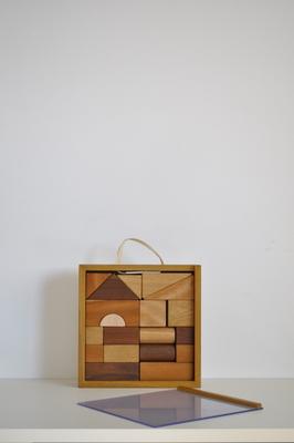 積み木セット-広葉樹無垢材いろいろ-_送料込