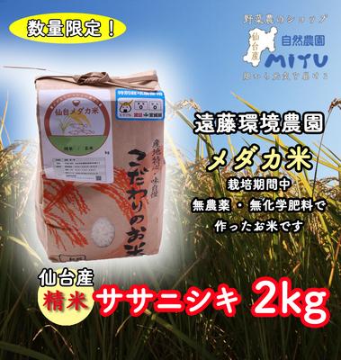 仙台産 遠藤環境農園 めだか米 精米 ささにしき 2kg
