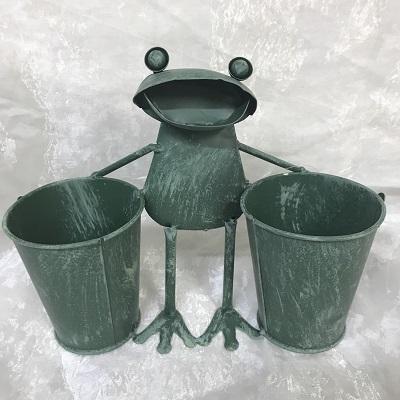 ブリキ カエルプランターダブル