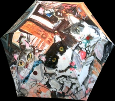 絵画柄の折畳雨傘(レディス手開き)絵画の題名「猫的解釈による名画」《送料無料/宅急便コンパクト》