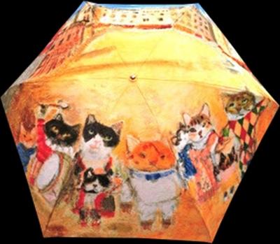 絵画柄の折畳雨傘(レディス手開き)絵の題名「カンポ広場のお祭りに集結」《送料無料/宅急便コンパクト》