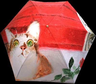 絵画柄の折畳雨傘(レディス手開き)絵の題名「ミケランジェラ闘牛場にふたたび」《送料無料/宅急便コンパクト》