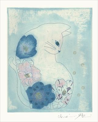 ネコポケットの中5 美しい猫 銅版画/送料無料(宅配便)