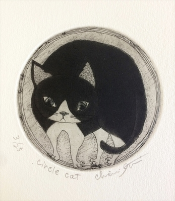 circle cat 銅版画/送料無料(宅配便)