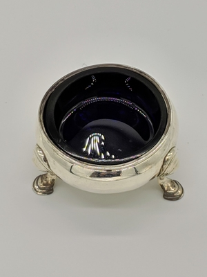 19th c Silver and Blue Grass Liner Salt case