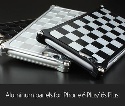 アルミパネル市松 iPhone6Plus/6sPlus用ソリッドバンパー対応 シルバー&ブラック