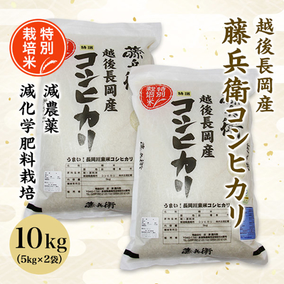 【新米】越後長岡産 藤兵衛コシヒカリ 令和元年度産 10kg(5kg×2袋)