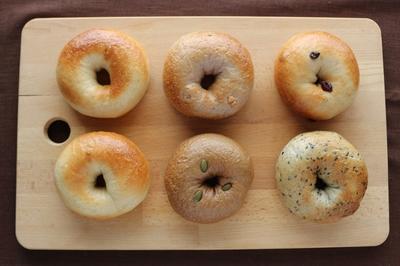 ベーグル5種ミックス(プレーン、黒ごま、くるみ、クランベリー、キャロブ) 6個セット