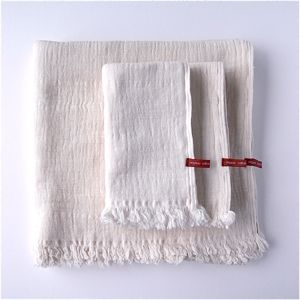使いやすさで定番人気No.1・オーガニックコットンタオル | スラブガーゼボーダーWホワイト(天衣無縫)