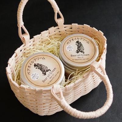 【ギフト】熊油配合 ベアオイルクリーム(2個入・手編み籠入り)