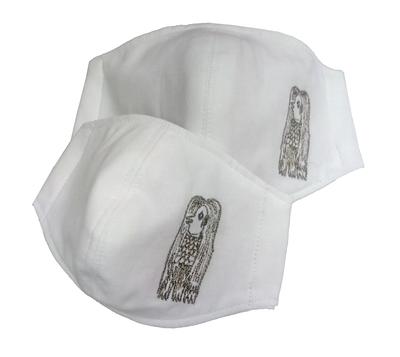 布マスク アマビエ刺繍入り3Dタイプ 1枚