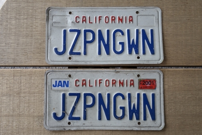 カリフォルニアライセンスプレート 1987~1993