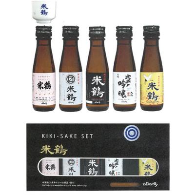 【6月14日以降発送】米鶴 きき酒セット 100mlx5本・ミニ猪口1個・木製トレーセット