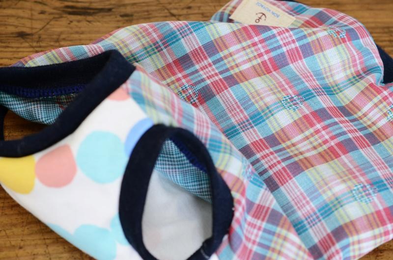 柔らかなダブルガーゼで作りました。マリンチェックのTシャツです。