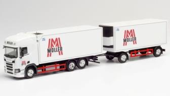 """1/87 スカニア CS 20 HD冷蔵ボックストラックwithトレーラー """"Müller"""""""