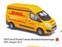 """1/87フォード トランジット カスタム ハイルーフ パネルバン """"DHL"""" 2012"""