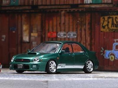 """1/64""""スバル インプレッサ WRX 2001 カスタムグリーン  JDM RHD"""""""