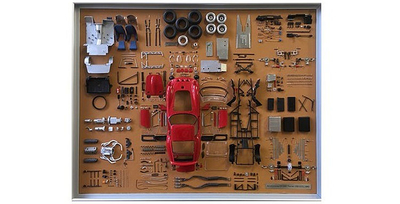 フェラーリ 250 GTO パーツディスプレイボード  フロントエンジンのレイアウトを採用した 驚くほど美しいスタイルのフェラーリGTO。