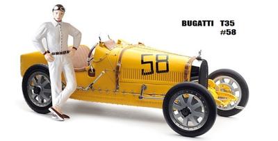 ブガッティ T35  1924  イエロー 女性ドライバーフィギュア付