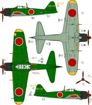 (完成モデル) 三菱零式艦上戦闘機 五二型甲 第343航空隊(昭和19年 グアム島)