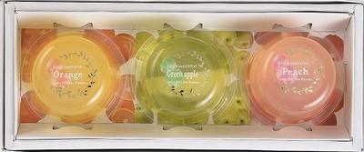 国産果肉のフルーツゼリー3個入り (ハンディーバック「ロゴ入りビニール袋」付)