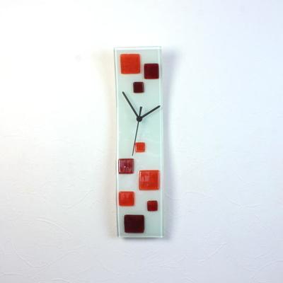 グラスデザイン掛け時計 cnohz10x41red-orange