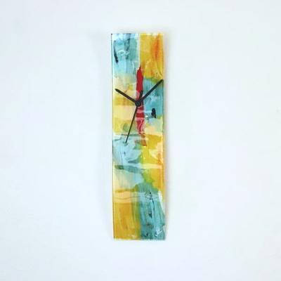 グラスデザイン掛け時計 cnojg10x41yellow-blue