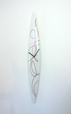 グラスデザイン掛け時計 cnopg10x74white-red