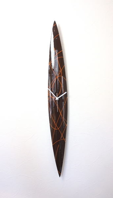 グラスデザイン掛け時計 cnopg10x74brawn-orange