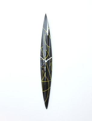 グラスデザイン掛け時計 cnopg10x74black-yellow