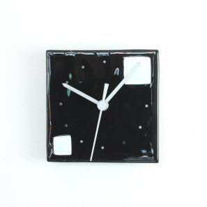 グラスデザイン掛け時計 patchy13x13black