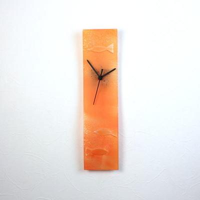 グラスデザイン掛け時計 crouf10x41orange