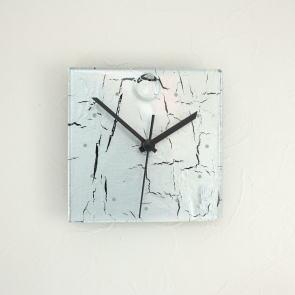 グラスデザイン掛け時計 crackled13x13silver