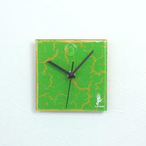 グラスデザイン掛け時計 crackled13x13limegreen
