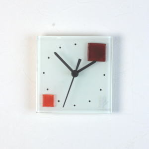 グラスデザイン掛け時計 patchy13x13red-orange