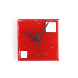 グラスデザイン掛け時計 patchy13x13red