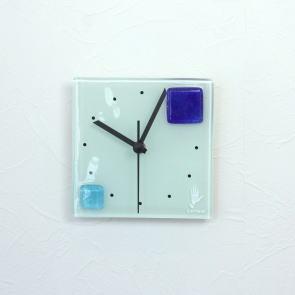 グラスデザイン掛け時計 patchy13x13blue-turquoise