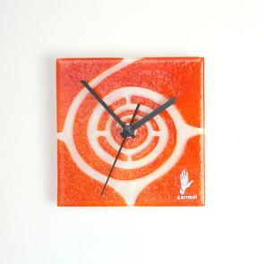 グラスデザイン掛け時計 spiral13x13orange