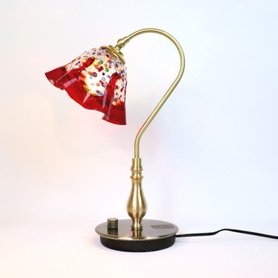 ベネチアングラステーブルランプ fc-210g-fantasy-smerlate-red