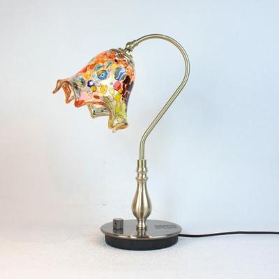 ベネチアングラステーブルランプ fc-210g-fazoletto-amber